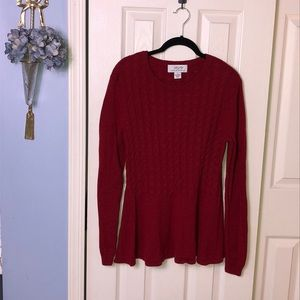 PLY Cashmere cable knit burgundy sweater